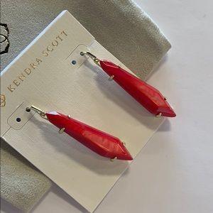 Grey earrings gold/ red